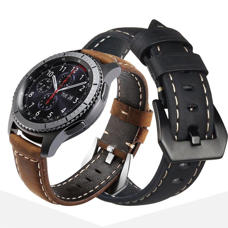22mm Crazy Horse Leather men watchband for <font><b>Samsung</b></font> Galaxy watch <font><b>46mm</b></font> Gear S3 Smart watch Accessory leather bracelet <font><b>strap</b></font> Band image