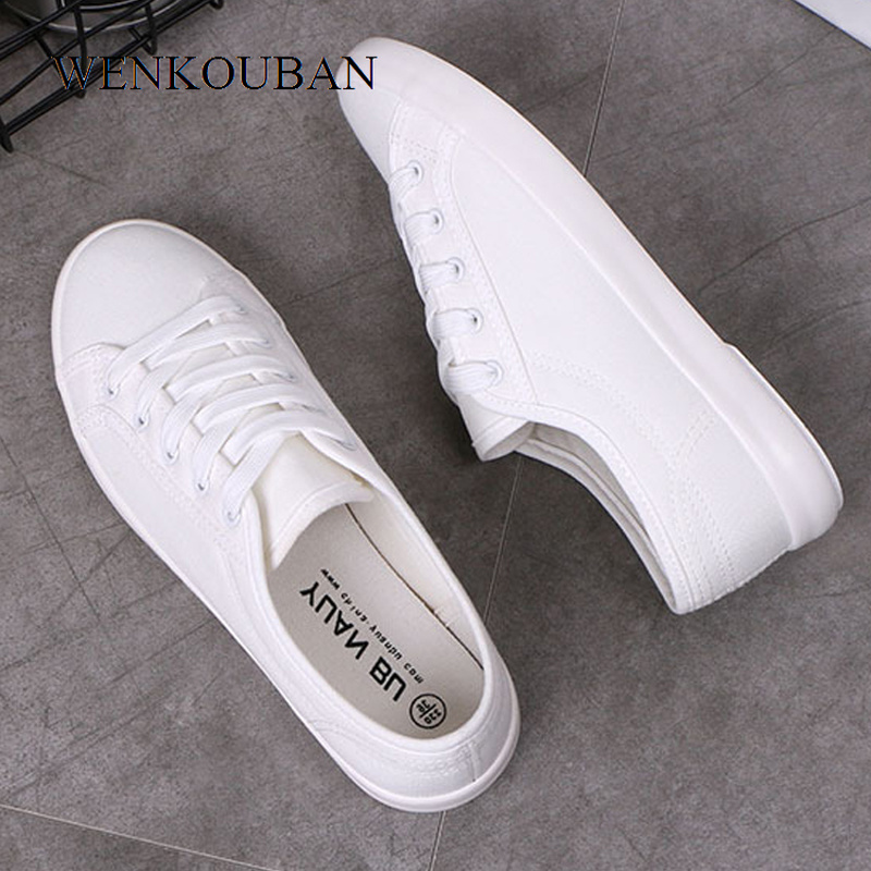 White Canvas Shoes Women Vulcanized Shoes Classic White Sneakers Ladies Trainers Summer Women Casual Shoes Basket Femme 2020