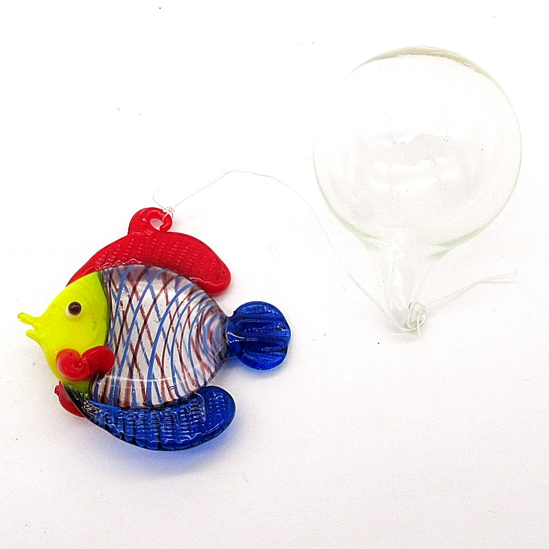 Mini Ocean world aquarium decorations pendant hand blown glass floating Bubble fish figurines Fish tank animals statue ornament image