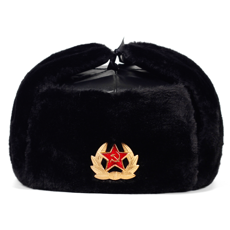 Soviet Army Military Badge Russia  Bomber Hats Pilot Trapper Trooper Hat Winter Faux Rabbit Fur Earflap Men Snow Caps