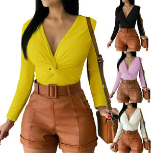 2019 Autumn Women Slim Fit T-shirt Long Sleeve T shirt Cross V-neck T Shirt Fashion Female Sexy Long Sleeve Pure Color T-shirts