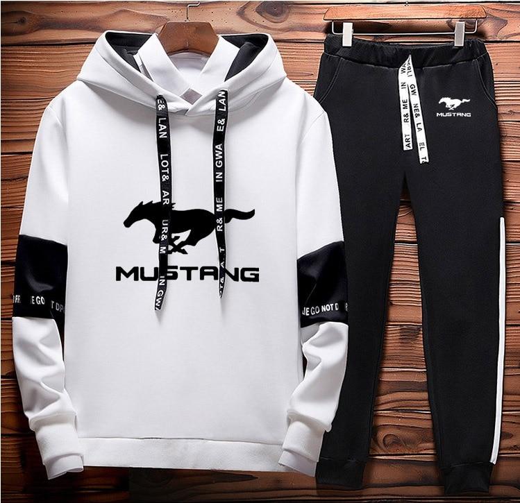 Mens Hoodies Sweatshirt Mustang Car Logo Printed Spring Autumn Hoodies+Pants 2Pcs Sporting Suit Fleece Warm Thick Sportwear