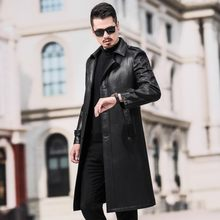 High Quality PU Leather Mens Fake Fur Liner Trench Coats Winter New Fashion Medium Length Thick Warm Coats Plus Size Streetwear(China)