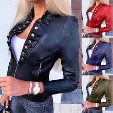Moda outono jaqueta feminina legal de couro do falso manga longa zíper cabido motor motociclista casaco outwear feminino outono curto jaqueta nova #40