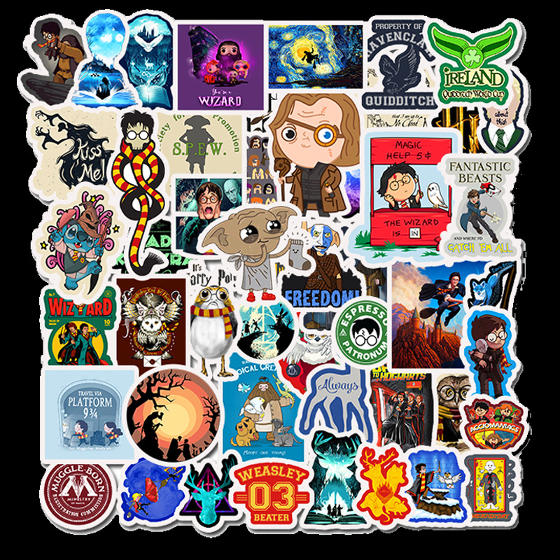 50PCS Waterproof Potter Stickers Hogwarts 2020 Waterproof Stickers Cartoon Waterproof DIY Decals Sticker