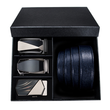 Hi-Tie New Blue Leather Belt Men Male Soft Genuine Automatic Buckle Belts for Luxury Brand Designer Gift Box