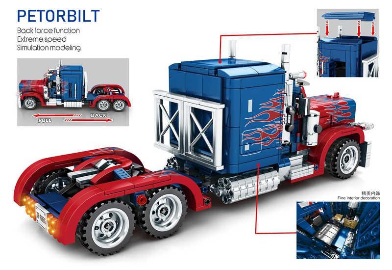 Technic Optimus Prime Peterbilt 389 camions blocs de construction Sembo 701803 ville ensemble briques jouets cadeaux d'anniversaire Compatible Legoed
