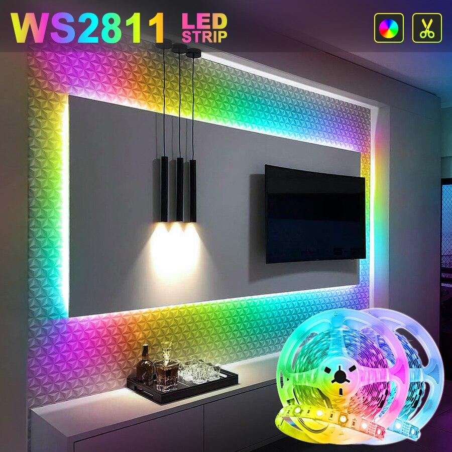WS2811 RGB led bande lumière rêve couleurs 5050 SMD Led RGB Flexible bande ruban Led 5M 10M 15M Non étanche avec adaptateur DC12V