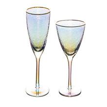 Luxury Wine Glass Champagne Flutes Colorful Crystal Wedding Glasses Gold Rim Drink Cup Goblet Drinkware Party Gift Home Decor