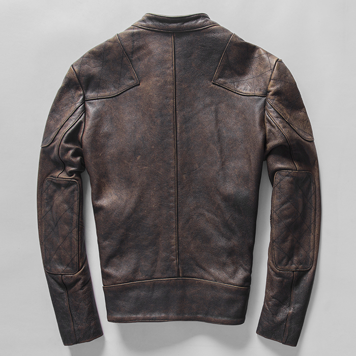 Beckham Same Style Men's Genuine Leather Jacket Washed Vintage Cowhide Motorcycle Clothing Stand Collar Zipper Winter Coat