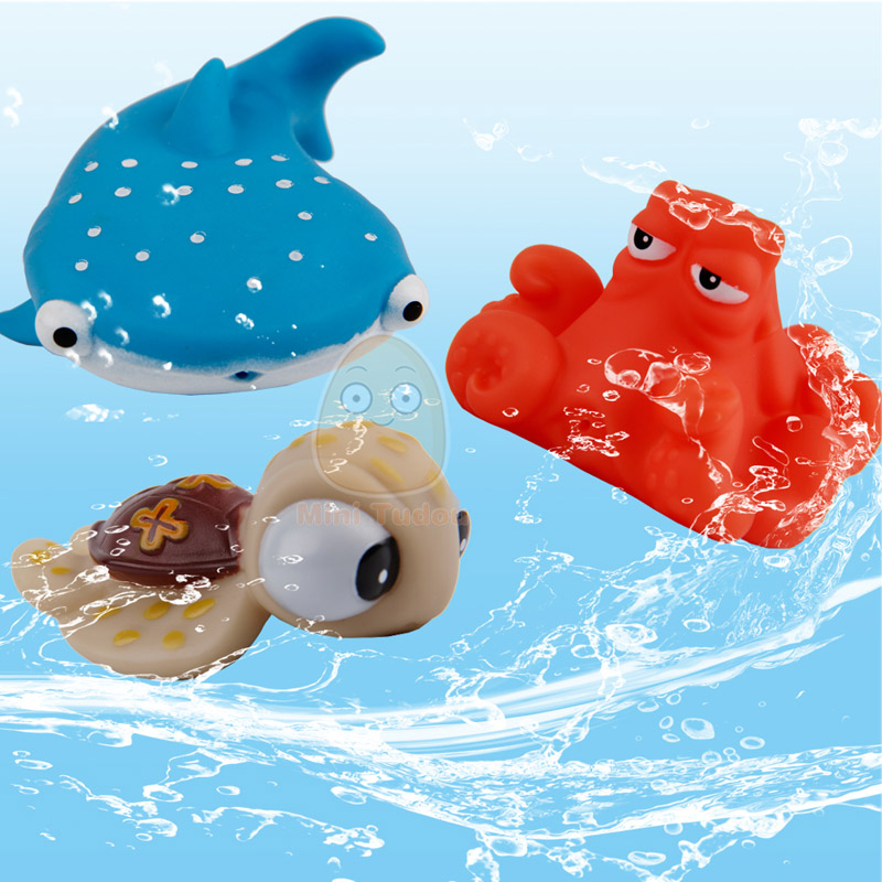 Ocean Balls Pool Play House Baby Bath Toys Finding Fish Kids Float Spray Play Water Soft Rubber Bathroom Play Animals For Baby