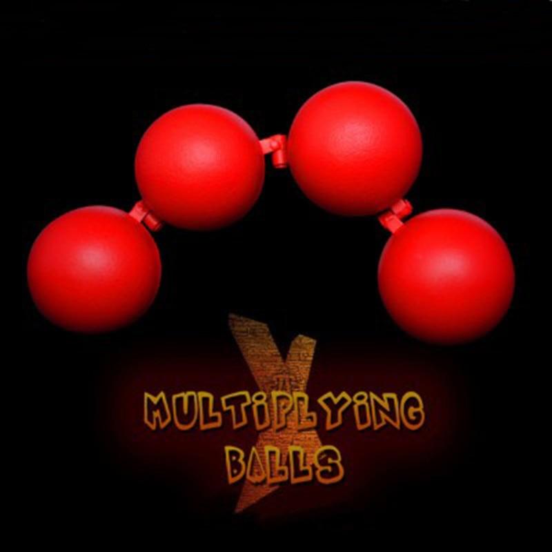 Boules de multiplication (métal, couleur rouge) une à quatre boules tours de magie pour les accessoires de Gimmick d'illusion de scène de magicien professionnel