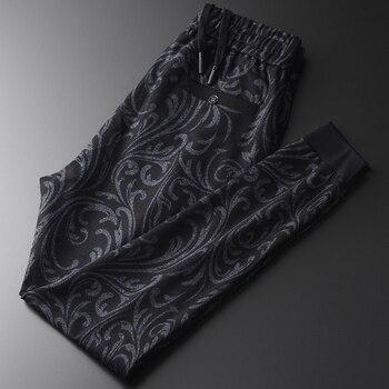 Autumn Mens Luxury Yarn Dyed Velvet Casual Sport Male Pants Plus Size 4xl Elastic Waist Slim Fit Men's Trousers