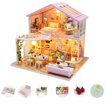 NEW Wooden Dollhouse Kits DIY Miniature with Casa Music Doll house Girls Gift Best Collection Hot Sale Dropshipping