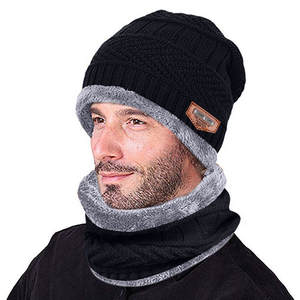 Caps Scarf Beanie Neck-Warmer Skullies Soft Winter Male Windproof Two-Piece-Set Men -T5p