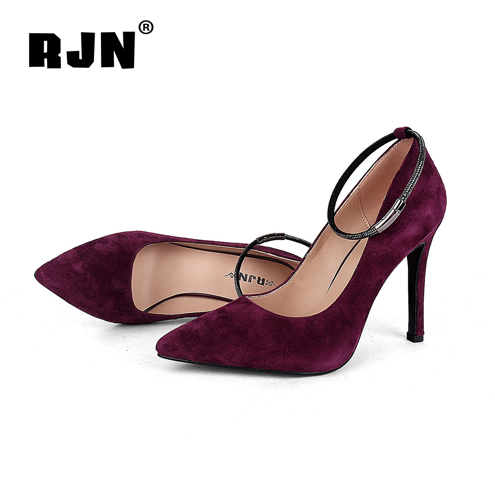 Hot Sale RJN Elegant Women Pumps Ankle Buckle Strap Kid Suede Sexy Pointed Toe Super High Thin Heel Work Shoes Slip-On Shallow Pumps R33