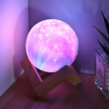 YAGE LED 3D Print Moon Lamp Baby Night Light For Kids Rechargeable Touch 16 Colors Remote Starry Sky Lamp Night Lamp For Bedroom
