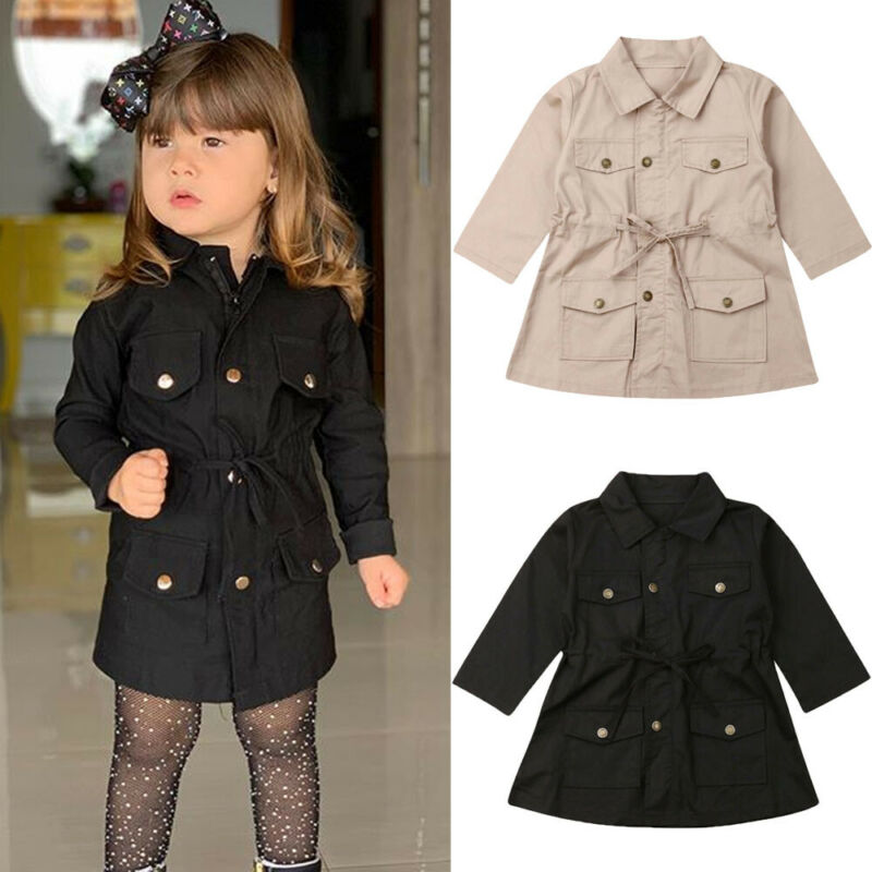 Kids Little Girls Lapel Single Breasted   Trench   Coat Jacket with Pockets and Drawstring Child Girl Khaki Windbreaker