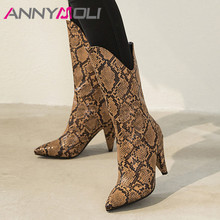 ANNYMOLI Women Boots Winter Mid Calf Boots Snake Print Spike Heel Boots Slip on Extreme High Heel Shoes Female Fall Plus Size 43
