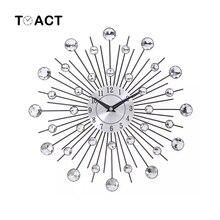 בציר מתכת קריסטל Sunburst קיר שעון גדול מורדן שעוני קיר עיצוב בית אמנות דקור 33cm גדול גודל