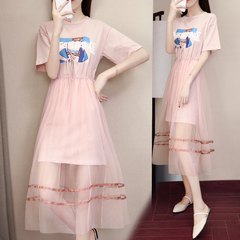 Skirt Women's Summer 2018 New Style Korean-style Printed T-shirt + INS Super Fire Mesh Dress Two-Piece Women's Fashion