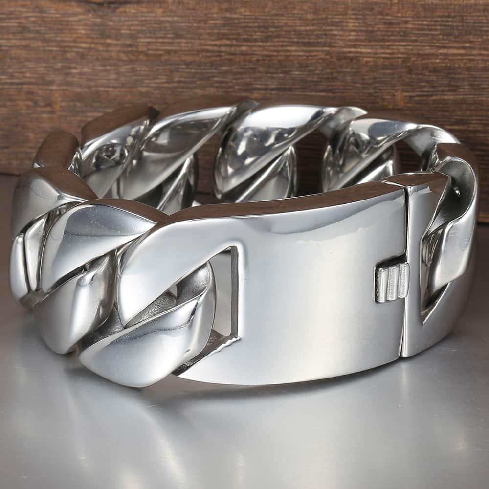 Davieslee 31mm 21cm poli 316L Bracelet en acier inoxydable pour hommes couleur argent gourmette lien cubain unisexe bijoux pour hommes DLHB23