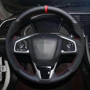 Image 1 - Dla Honda Civic Civic 10 2016 2019 CRV CR V 2017 2019 Clarity DIY czarny zamsz skórzana osłona na kierownicę do samochodu