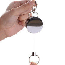 Keychain Outdoor Sport Ring Portable Elastic Mini Chrome Plated Metal Alarm Safety Hang Buckle Retractable Wire Anti Lost(China)