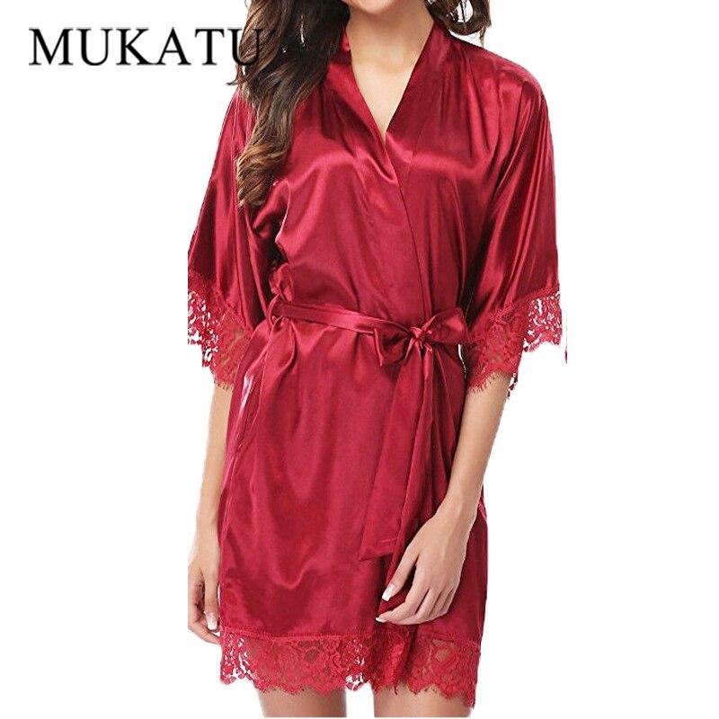 Lace Sleepwear Robe Women Nightdress Silk Satin Sexy Lingerie Mini Solid Dress V Neck Nightgown Belt Night Wear