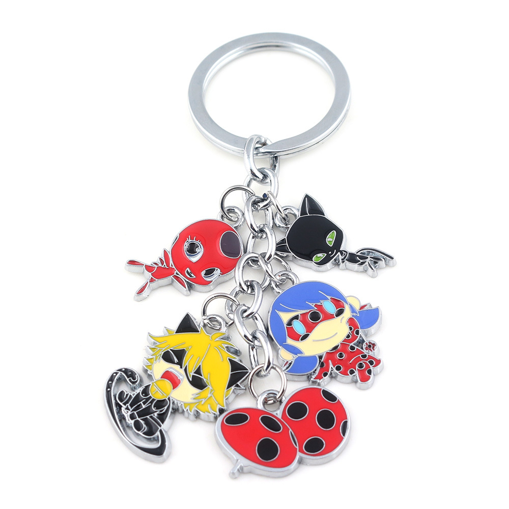 Cartoon Figures Group Keychain Ladybug Black Cat Noir Ladybird Metal Pendant Cute Car Key Door Kids Gifts Bag Trinkets Chaveiro