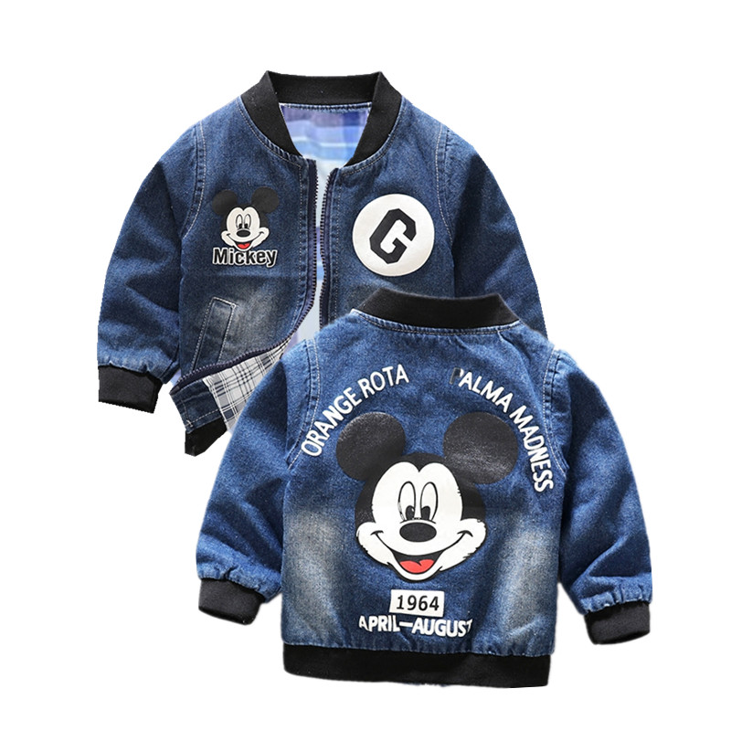 Boys Jacket Coat Outerwear Spring Cowboy Mickey Toddler Autumn Girl Baby 1-5year Denim