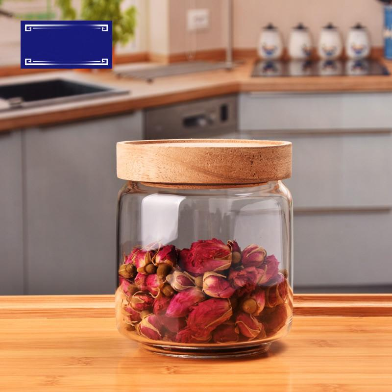 Glass Storage Jar Transparent Heat-Resistant Glass Bottle Sealed Jar Clear Container With Wooden Lid Kitchen Food Storage Tank