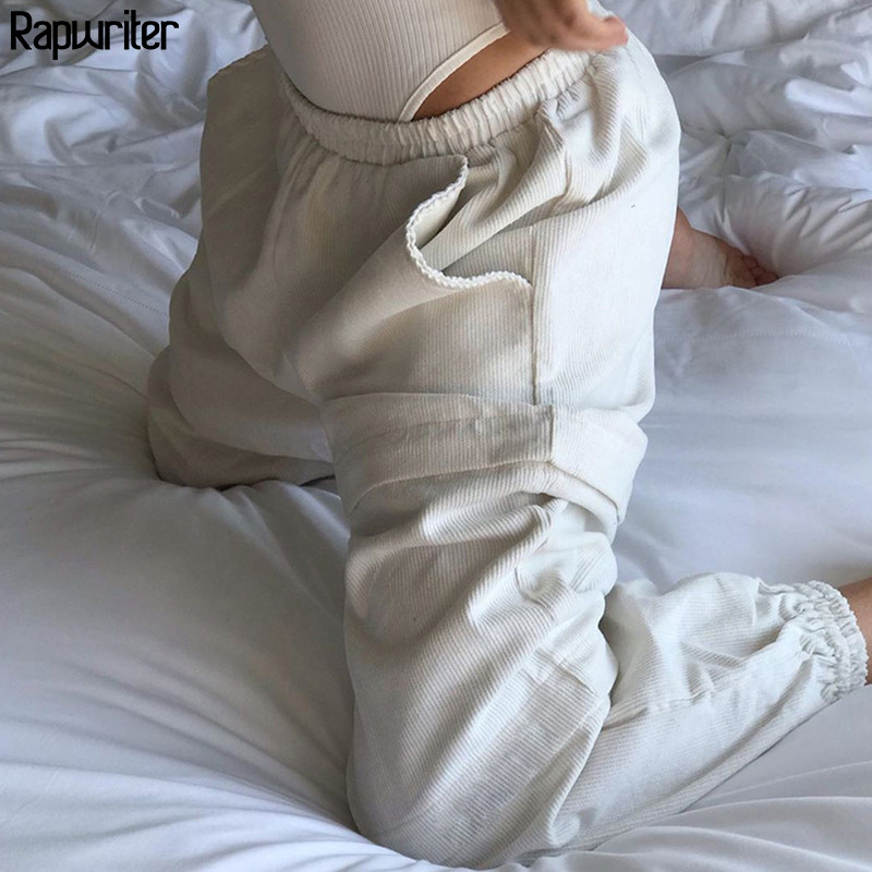 Rapwriter Casual Stretch High Waist Corduroy Pants Women 2019 Autumn Winter White Harem Pants Ladies Joggers Trousers Pockets