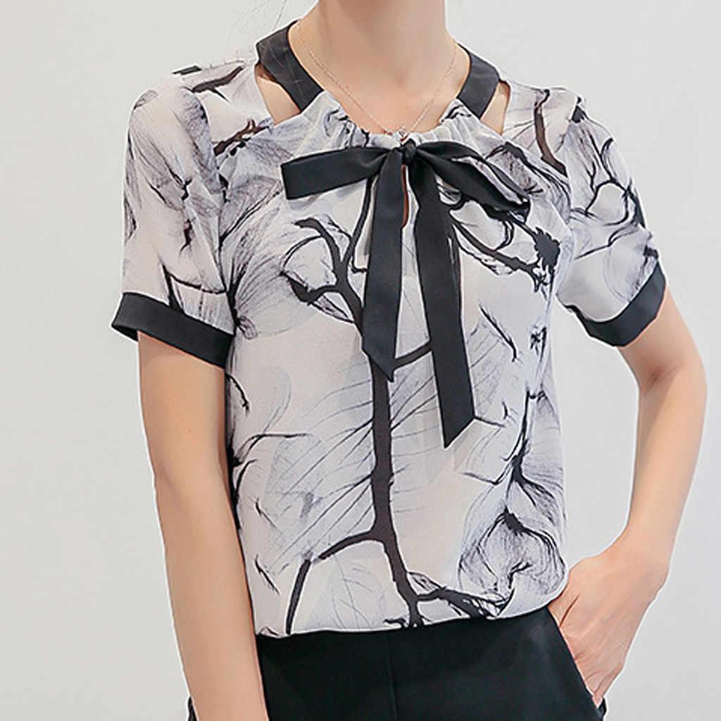 2019 la impresión de moda de verano de las mujeres se ve bien casual y cómodo cuello redondo de manga corta Camisa de gasa top рубашка женская * 40 *