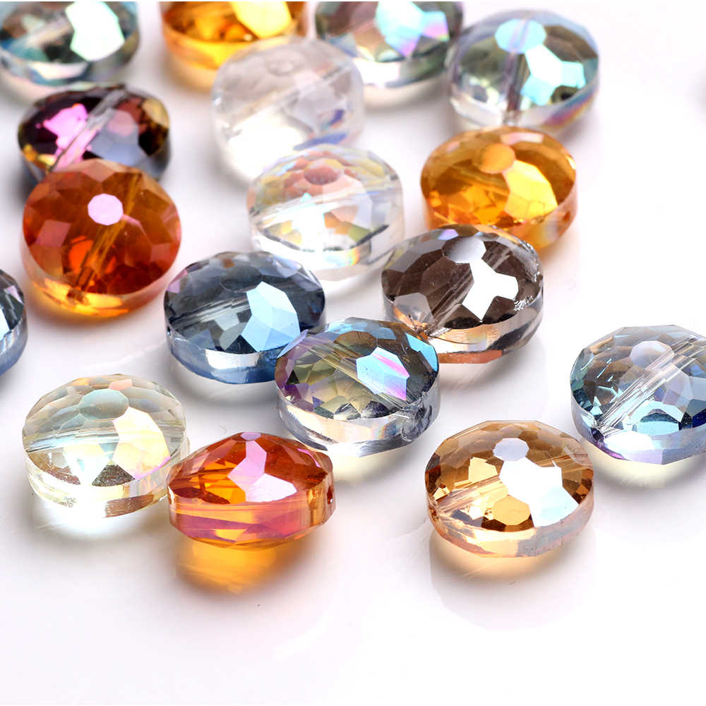 14mm 10PCS Faceted Glass Crystal Round Flat Spacer Loose Beads DIY Jewelry Gifts