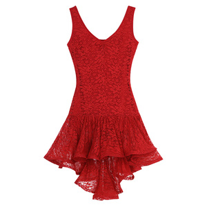 Image 4 - TiaoBug Mulheres Dança Latina Vestido Colher Neck Lace Plissado Alta Baixa de Salão Salsa Samba Tango Dancewear Traje Performance de Palco