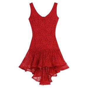 Image 4 - TiaoBug النساء اللاتينية فستان رقص سكوب الرقبة كشكش الدانتيل أعلى أدنى قاعة سامبا تانجو الصلصا Dancewear أداء مرحلة زي