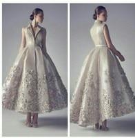 Vintage sexy v neck hi lo prom lace appliques evening gown unique design vestido de festa 2020 mother of the bride dresses