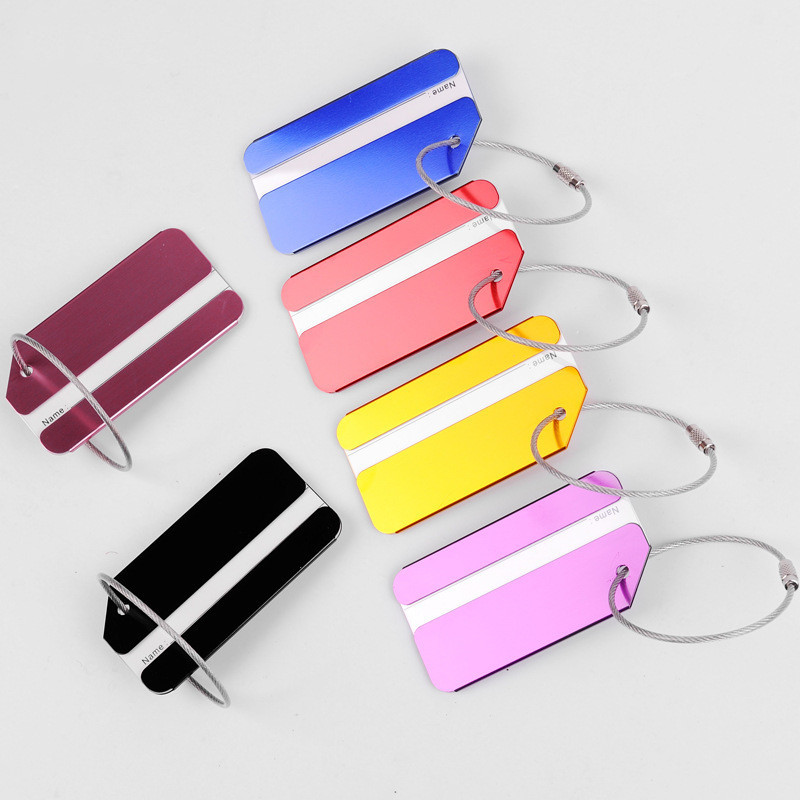 Aluminium Alloy Luggage Tags Baggage Boarding Tags Suitcase ID Address Name Label Holder Portable Travel Accessories Simple Tag