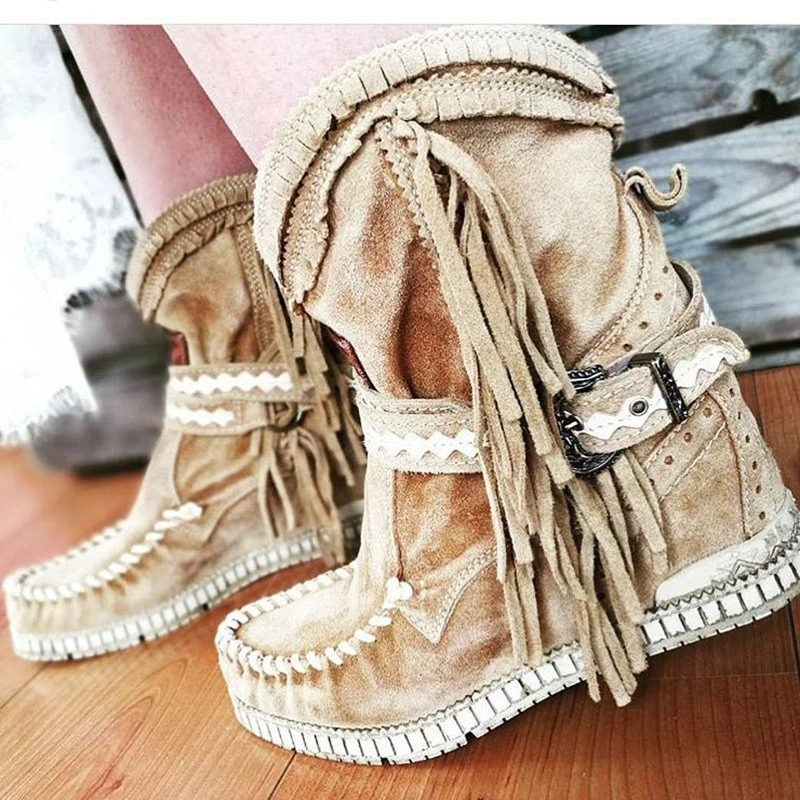 Women Ankle Short Boots Tassels Round Toe Buckle Strap Boots Ethnic Style Warm Non-slip Boots Shoe For Ladies Botas Mujer