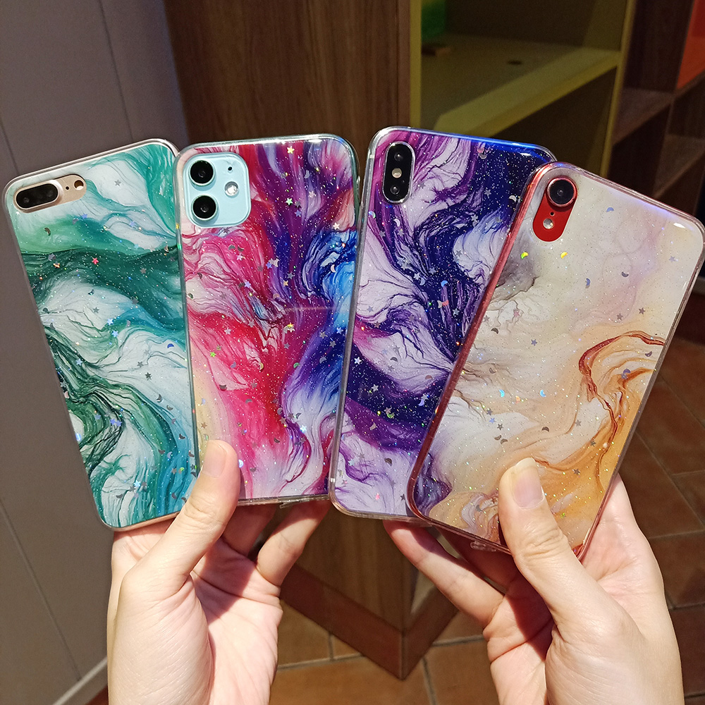 Fashion Laser Star Moon Marble Case for <font><b>iPhone</b></font> 11 Pro X XS Max XR <font><b>8</b></font> 7 6 6S Plus <font><b>Glitter</b></font> Bling Sequins Silicon Soft Cover <font><b>Hoesjes</b></font> image