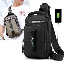 Multifunction Crossbody Bag Men USB Charging Chest Pack Short Trip Messengers Chest Bag Waterproof Large Capacity Shoulder Bag