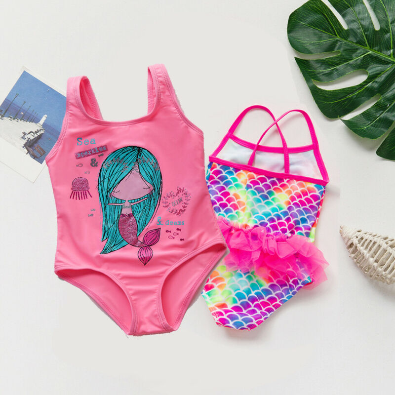 Baby Swimming Suit 2020 Summer New Flower Printed Cartoon Mermaid Bikini One Piece Swimsuit Todder Girl Swimwear Bodysuit