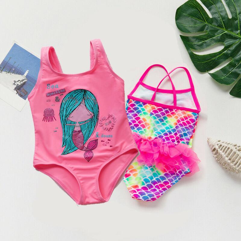 Baby Swimming Suit 2020 Summer New Flower Printed Cartoon Mermaid Bikini One Piece Swimsuit Todder Girl Swimwear Bodysuit