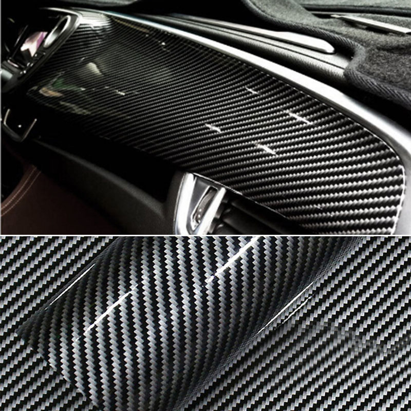 Premium Glossy Black 2D Carbon Fiber Vinyl Film Car Wrap Film 2D Carbon Fiber Car Sticker Auto Exterior Accessories Film