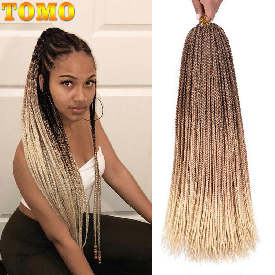 TOMO Colored Box Braid Crotchet Braid 24Inch Ombre Synthetic Braiding Hair Extension 22Roots Rainbow Crochet Hair African Braids