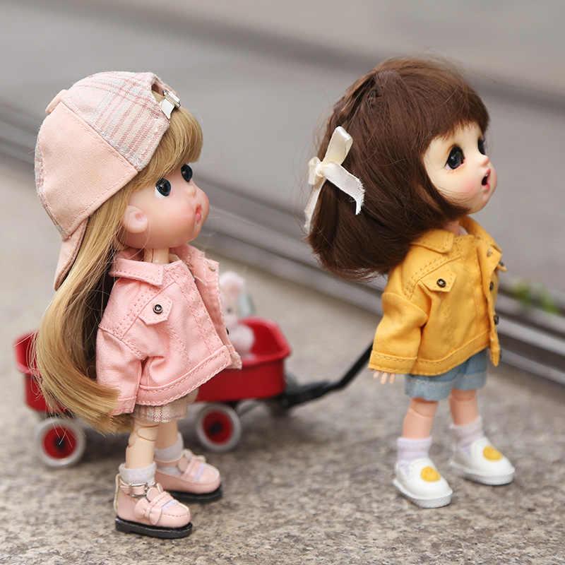 1:12 مقياس ملابس دمى موضة الدينيم سترة البلوز ل OB11 ، Obitsu 11 ، مولي ، 1/12 BJD إكسسوارات دمي هدية للفتيات