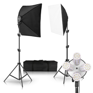 Image 2 - Photography Lighting 50x70CM Four Lamp Softbox Kit E27 Holder With 8pcs Bulb Soft Box Accessories For Photo Studio Video