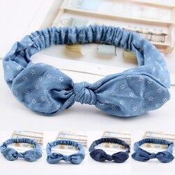 Blue Denim Cloth Rabbit Ears Headband Hairbands Women Female Elastic Hairband Makeup Washing Face Headwrap INS Korea Hair Turban