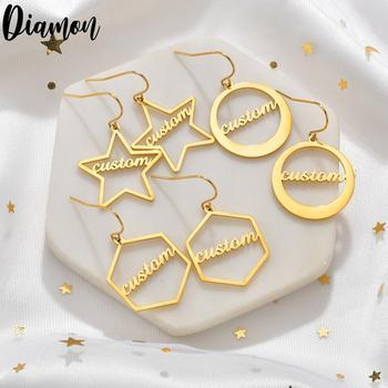 Diamante de alta qualidade personalizado nome brincos de ouro personalizar namplate brinco feminino jóias de aço inoxidável presente festa 1